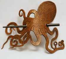 Leather Steampunk Pirate Octopus Hair Barrette by ArmouredWolf907