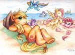 Applejack and Friends on the Beach by zettablob
