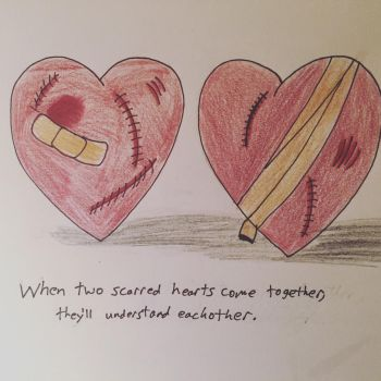 Two scarred hearts  by IronBatMaiden91