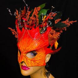 Autumn Fall Fairy Mask - Leather Masquerade by aGrimmDesign