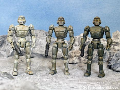 3D printed male robot action figures 3 3/4 inches by hauke3000