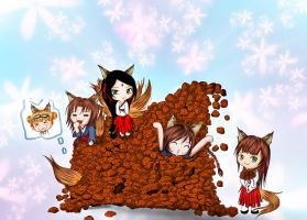 They like cookies-  Kitsune No Monogatari by LadyBlackKill