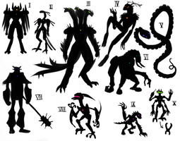 Bionicle Silhouettes by Rainewhisper