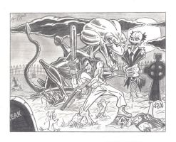 Ash and Pumpkinhead vs Zombies by FREAKCASTLE
