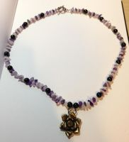 Rose Quartz and Amethyst necklace by PudgeyRedFox