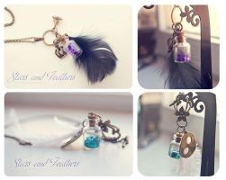 Feather and Stars Bottle necklaces by Bea-Gonzalez