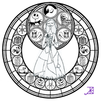 Sally Stained Glass -line art- by Akili-Amethyst