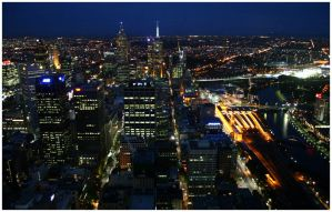 Flinders Street at Night by aare