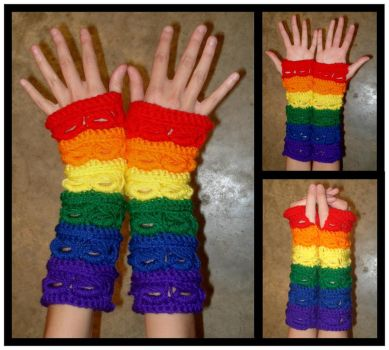Rainbow Armwarmers - Broomstick Stitch 2 by RebelATS