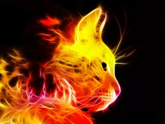 Fire Fractal Cat by MiniMoo64