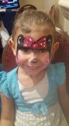 minnie mouse face paint by funfacesballoon