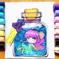 Chibi girl in a bottle by totshieee
