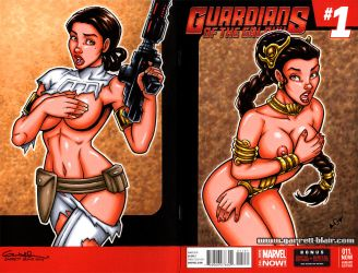 Padme + Leia Oops! sketch cover by gb2k