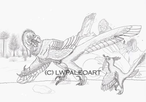 Vulturine and Traditional Dromaeosaurid by LWPaleoArt