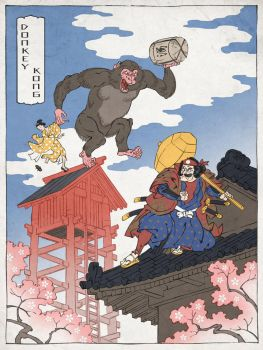 Donkey Kong as a Japanese Ukiyo-e by thejedhenry