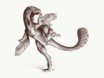 Kicking Utahraptor by FredtheDinosaurman