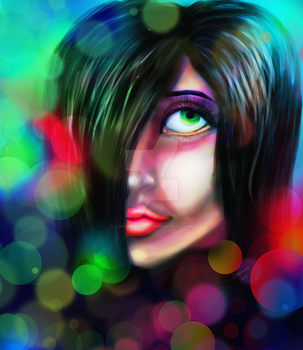 Green eyes, Colored lights by Lost-Leanore