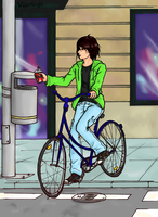 Alex on his bicycle by waterknightoflight