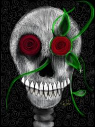 Rose and crazy skull by Mraul