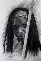 Michonne in Graffiti and Charcoal by pribellafronte