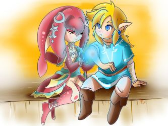 Mipha and Link by NeonCelestia20