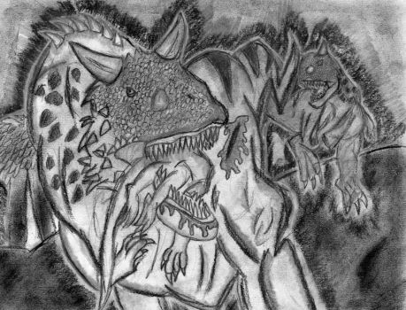 Charcoal Carnotaurus Hunt by Fire-Blitz