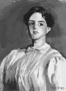 Portrait Of Sally Fairchild after Sargent by Maekyo