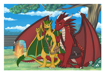 Sahrend and Terraflare Commission by DahliaWilder by Sahrend-the-Dragon