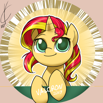 Sunset Shimmer Button by Dreatos