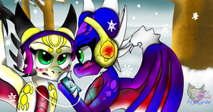 Angel and Cnder snowfall by AngelCnderDream14