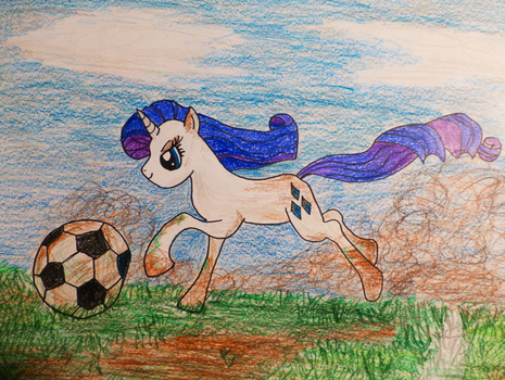 Rarity Playing Soccer by Yonderness