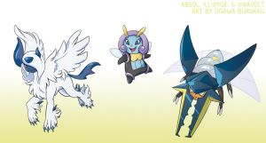 Pokemon Drawz Day 7: Absol Illumise and Vikavolt