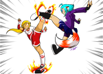 Who's kicking who? by Satomi-Mreow