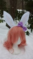 Fancy Frills white bunny ears with bow by Hop-is-my-Hero