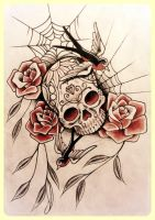 Candy skull with swallows and roses by 76Bev
