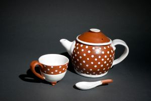 Teapot, cup, and spoon by valentineosarus