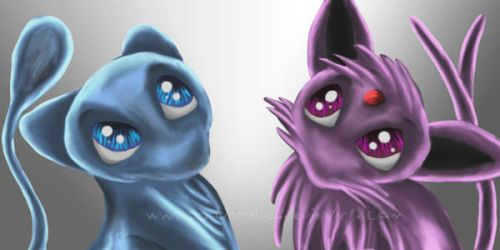 Mew and Espeon by FleetingEmber