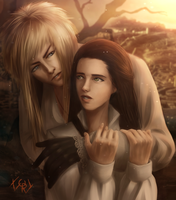 Jareth the Goblin King and Sarah -labyrinth (1986) by IraIVORY
