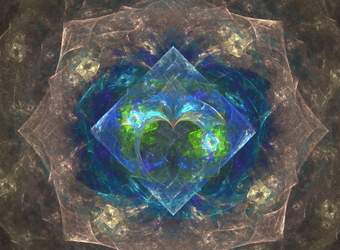 brown blue green symmetry fractal by TanithLipsky