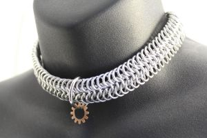 Steampunk Chainmaille Collar-Choker by SilverHauntArmoury