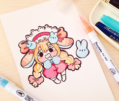 Bun bun painting #1 by MilkyPepper