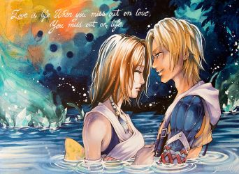 FFX kiss scene by Sophie-Dreamy