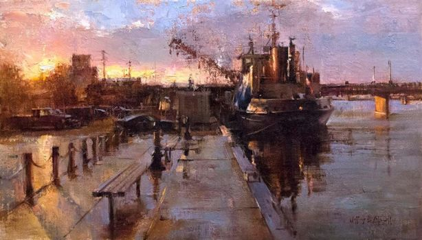 Jeff Merrill - Warmth on the Bay by OilPaintersofAmerica
