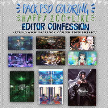 PACK PSD COLORING - HAPPY 200 + LIKE by EditorConfession