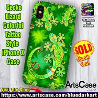 Gecko Lizard Colorful Tattoo Style iPhone X Cases by Bluedarkat