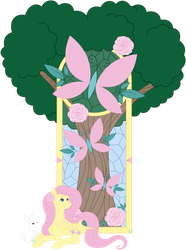 Fluttershy Cathedral Stained Glass by Beadedwolf22