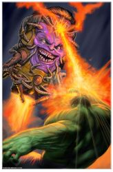 Hulk vs Modok by bgarneau