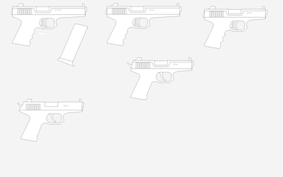 Make Of Several 9mm And 45 Pistols by Artmarcus