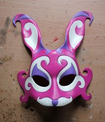 Pink Fantasy Bunny leather mask by ShadowFoxLeatherwork