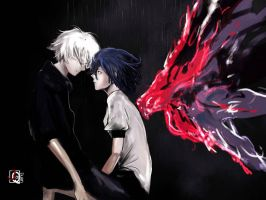 Tokyo Ghoul: Kaneki and Touka by wolfnocturne